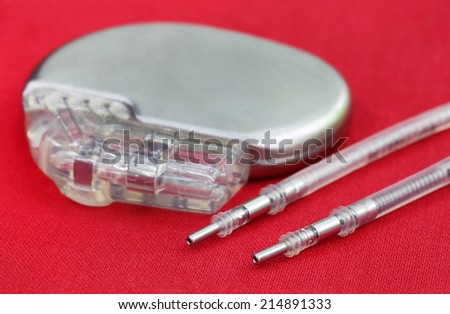 Close up of a Pacemaker with Electrical Leads - stock photo