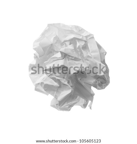 close up of a paper ball on white background - stock photo