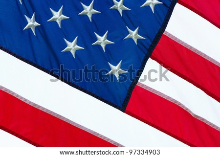 close up of a part of the American flag - stock photo