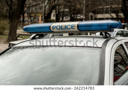 Close-up of a police car. Police lights. - stock photo
