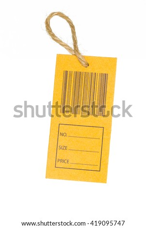 close-up of a price tag with bar code isolated on white background. Clipping Path. - stock photo