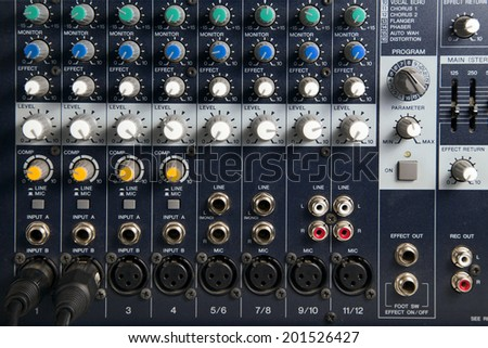 Close up of a professional equipment audio console mixer in a recording studio - stock photo