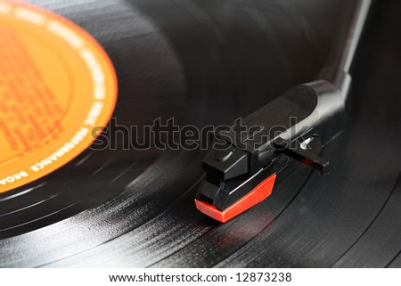 Close up of a record players needle - stock photo