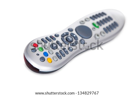Close-up Of A Remote Control Isolated On White Background - stock photo