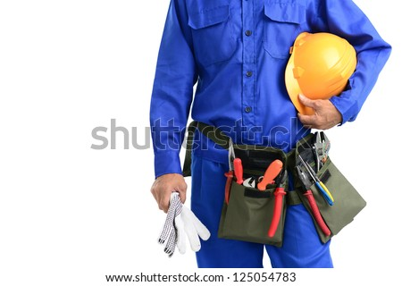 Close-up of a repairman isolated against white background with copy-space - stock photo