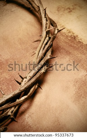 close up of a representation of the Jesus Christ crown of thorns - stock photo