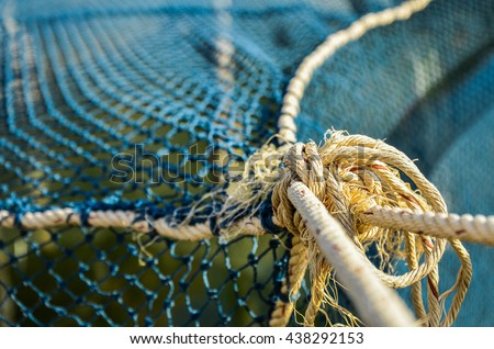 Close up of a rope Drag fishing nets - stock photo