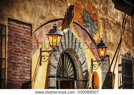 close up of a rustic entrance in Tuscany, Italy - stock photo