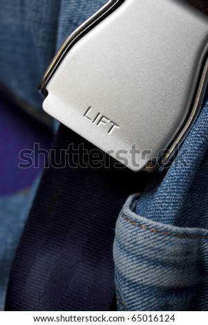 """Close-up of a safety belt with highlight a word """"LIFT"""" and Men's zone! - stock photo"""