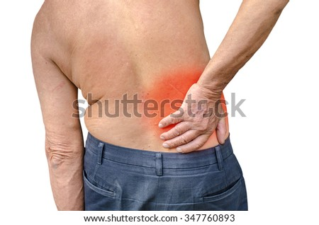 close up of a Senior man holding his back in pain, photo with red as a symbol for the hardening - stock photo