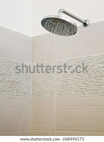 Close up  of a shower while running water - stock photo