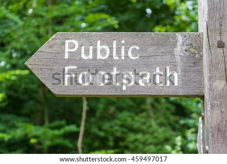 Close-up of a signpost for a public footpath - stock photo
