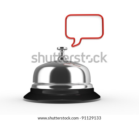 Close up of a silver bell and empty bubble. 3d render illustration - stock photo