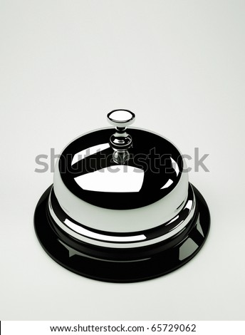Close up of a silver bell on white background - this is a 3d render illustration - stock photo