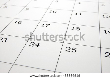 close up of a simple calendar page. - stock photo