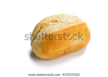Close-up of a single whole bread roll isolated on white background. - stock photo