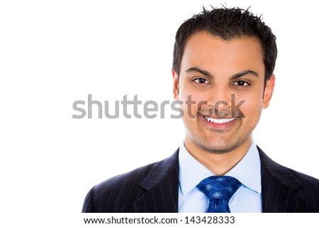 Close-up of a smiling businessman isolated on white background - stock photo
