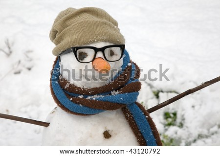 Close up of a snowman's face, with eyeglasses, hat, scarf and a carrot nose - stock photo