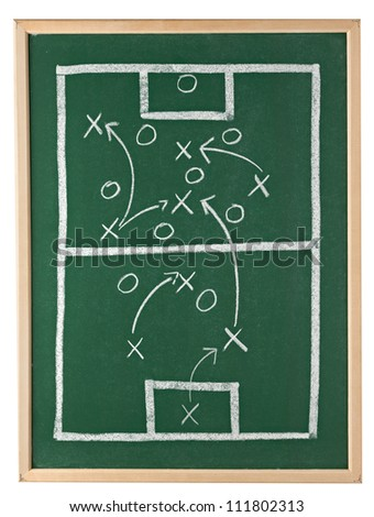 close up of a soccer tactics drawing on chalkboard - stock photo