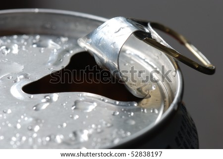 Close up of a Soda Can with Pull Tab and Condensation - stock photo