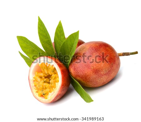 Close-up of a split passion fruit (passionfruit, purple granadilla (Passiflora edulis)) isolated on white background.  - stock photo
