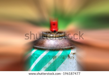close up of a spray can in hdr tone and zoom effect - stock photo