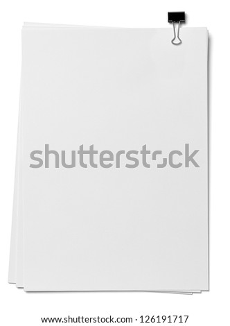 close up of a stack of papers and paper clip on white background. each one is shot separately - stock photo