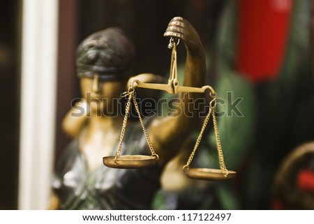 Close-up of a statue of Goddess of Justice, New Delhi, India - stock photo