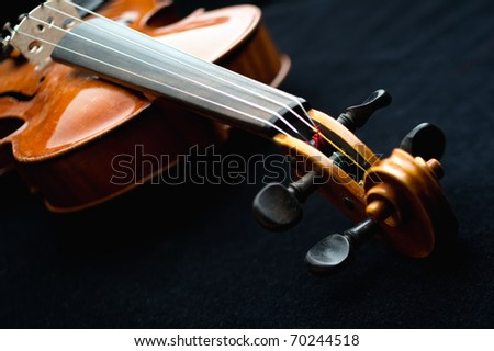 close-up of a Stradivarious style violin - stock photo