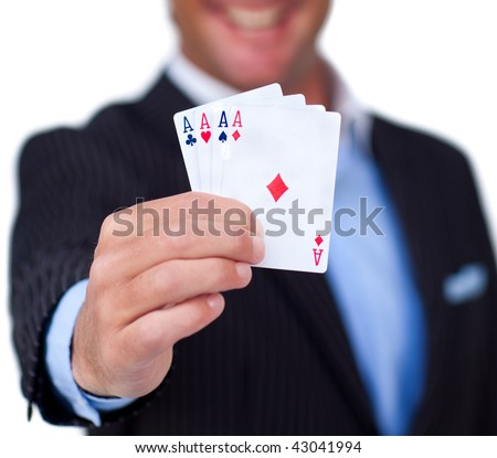 Close-up of a successful hand of cards against a white background - stock photo
