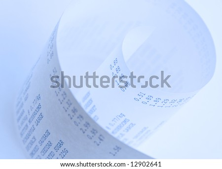 Close up of a supermarket shopping bill - stock photo