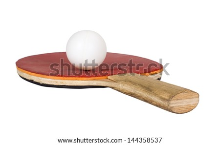 Close-up of a table tennis racket with a ball - stock photo