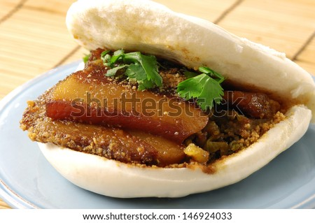 Close-up of a Taiwanese style burger, guo bao  - stock photo