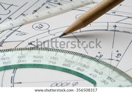 close up of a technical draw  - stock photo