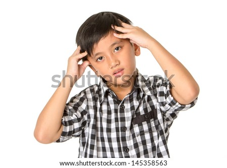 Close-up of a teenage boy with a headache, isolated on a white background - stock photo