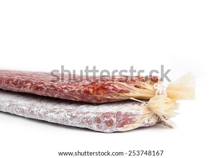 Close-up of a trafitional Bulgarian flat sausages. - stock photo