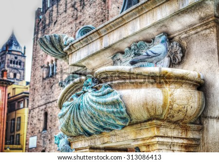 close up of a Triton fountain detail in Bologna, Italy - stock photo