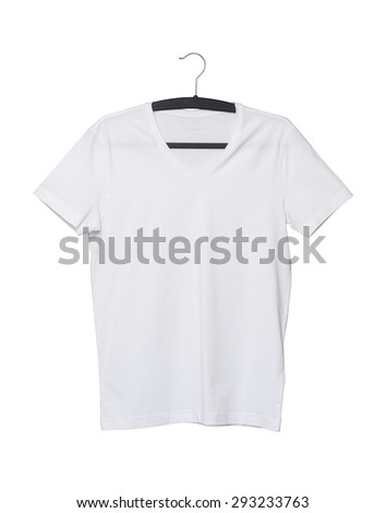 Close up of a V shape white t-shirt on cloth hanger. Isolated. - stock photo