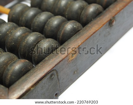 Close up of a vintage chinese abacus - stock photo