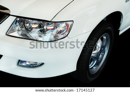 close up of a white car - stock photo