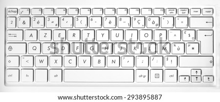 Close up of a white french azerty computer keyboard background - stock photo