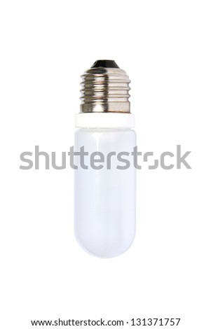 close up of a white light bulb on white background - stock photo