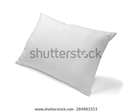 close up of  a white pillow on white background - stock photo