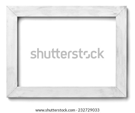 close up of  a white wood frame on white background - stock photo