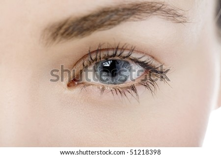 Close Up of a womans eye looking into camera - stock photo