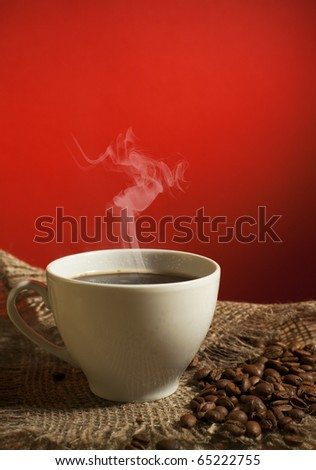 Close-up of a wonderful cup of hot coffee - stock photo