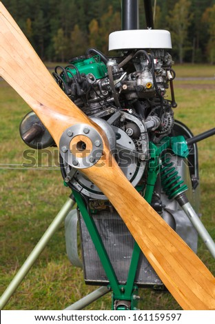 close-up of a wooden screw motor glider - stock photo