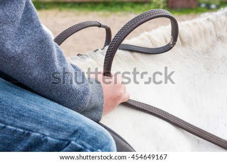 Close-up of a young boy holding the reins of a white pony in his hands - stock photo