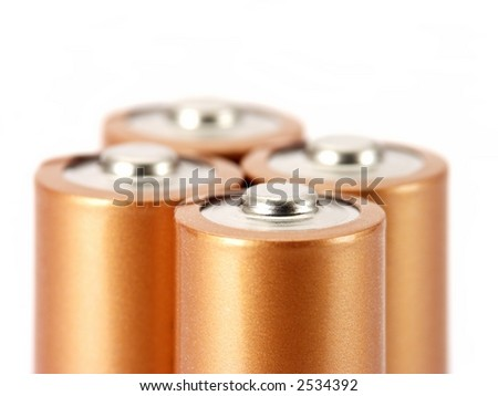 Close-up of AA batteries isolated on white. - stock photo