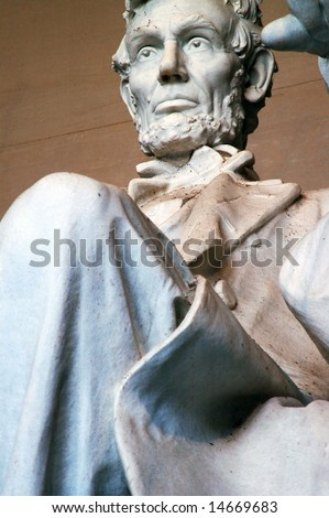 Close up of Abraham Lincoln, Lincoln Memorial in Washington DC - stock photo